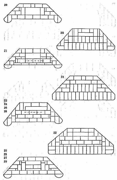 Порядовка кладки камина 1У(угловой вариант).  Металлические банные печи, камины.  Материалы и схемы кладки.